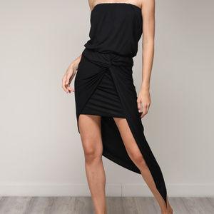 Mustard Seed - Black Draped Unbalance Dress